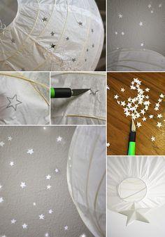Kinderzimmerlampe mit sternen selbst basteln einfache bastelarbeiten pinterest diy - Papierlampe selber machen ...
