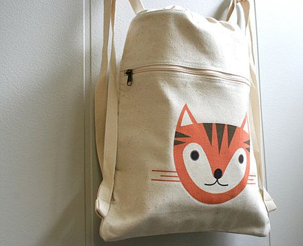 Cat backpack from Square Paisley Design / Etsy