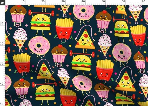 Fitness Athletic Food Pattern Fabric - Fit Fast Food - Navy (Large Version) By Tigatiga - Fitness Cotton Fabric By The Metre by Spoonflower #athletefood