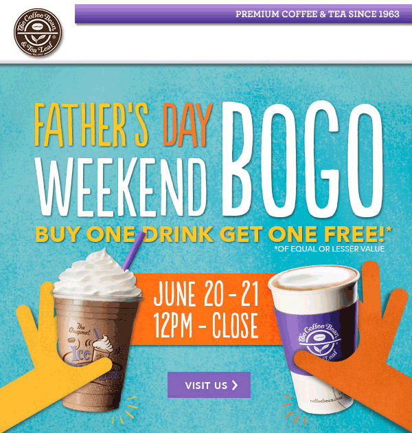 Second Drink Free At Coffee Bean Tea Leaf Tea Leaves Drinks Coupon Apps