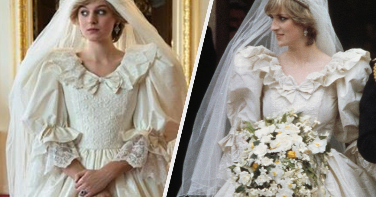 The Crown Recreated Princess Diana S Wedding Look And It Might Have You Doing A Double Take Princess Diana Wedding Princess Diana Wedding Dress Diana Wedding