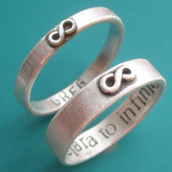 custom stamped infinity wedding ring set by sudlow on etsy 9300 - Infinity Wedding Ring Set