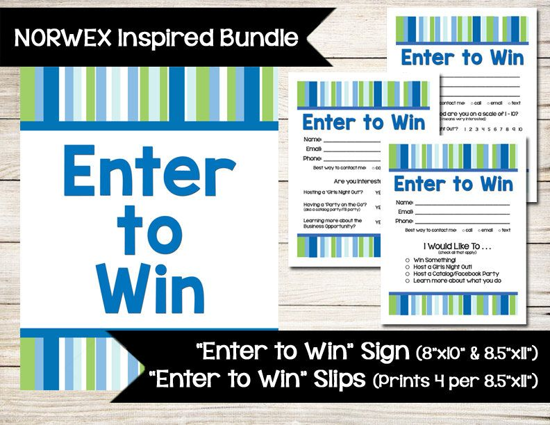 Norwex Inspired  Enter To Win  Door Prize  Drawing Slip  Raffle