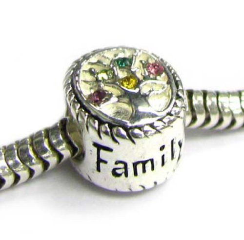 Sterling Silver Family Tree  Pink Rose Yellow Bead for European Charm Bracelet