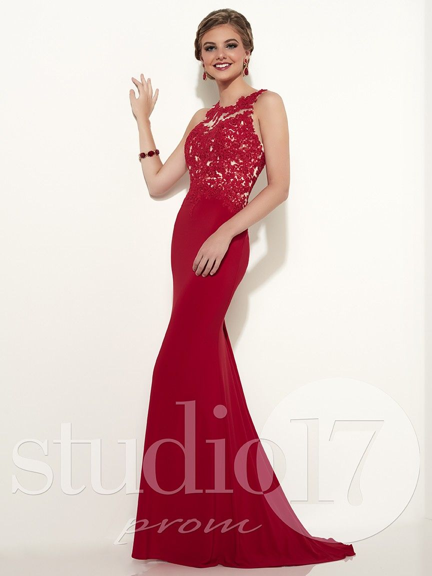Studio 17 12596 Lace & Jersey Evening Gown | Red lace, Gowns and Studio