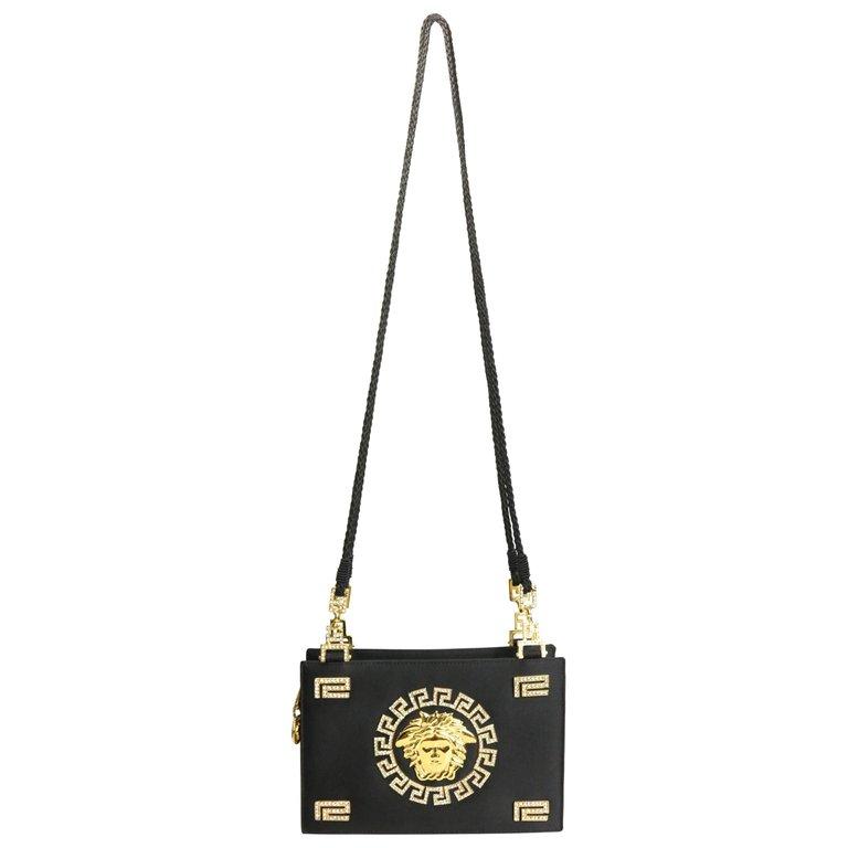 d4035d6964 Gianni Versace Structured Shoulder Bag - Satin Gold Rhinestone Medusa  Shoulder Bag Gold
