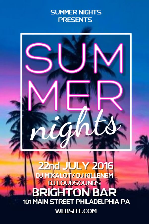 Summer Party Poster Flyer Social Media Custom Template  Summer