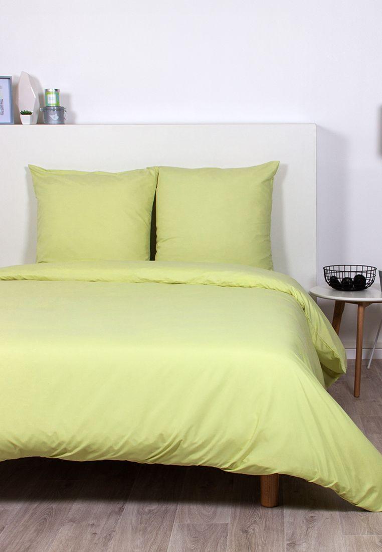Décoration chambre bien-être vert anis - Parure de lit unie vert