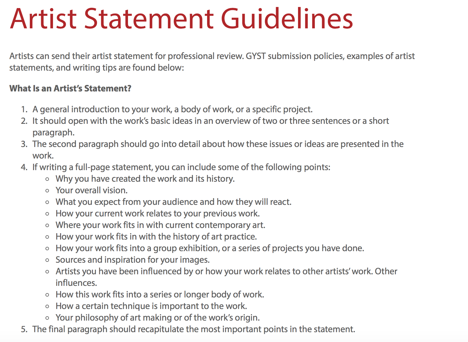 Guidelines To Creating A Good Artist Statement