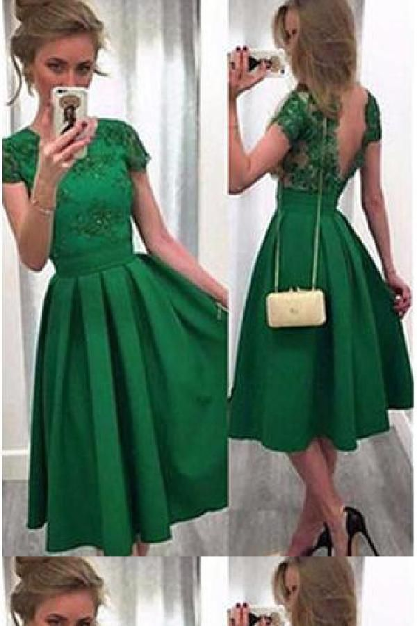 Customized Feminine Plus Size Prom Dress, Green Homecoming Dress, Short Prom Dress, Sexy Prom Dress #backlesscocktaildress