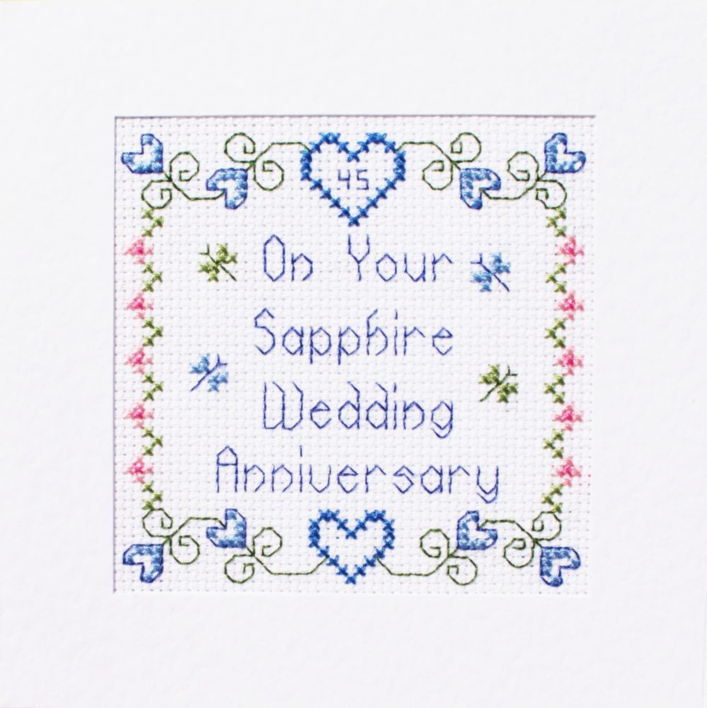 Details about 45th Sapphire Wedding Anniversary Card ღ