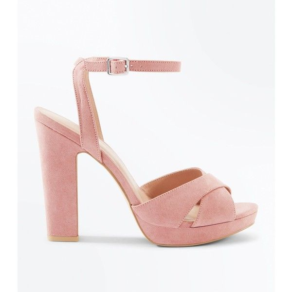 e5354555772 Pink Suedette Cross Strap Platform Block Heels ( 37) ❤ liked on Polyvore  featuring shoes