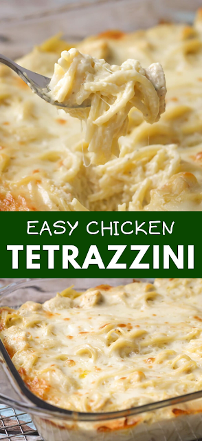 Easy and delicious Cheesy Chicken Tetrazzini - Chicken and pasta in a creamy sauce with lots of flavor. It's a family favorite dinner meal! - The ingredients and how to make it please visit the website #Chicken #Tetrazzini #dinner #best #recipe