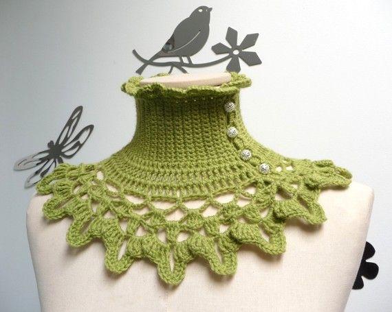 Lime Green Crochet Neckwarmer / Capelet with turtleneck by ixela, $53.00