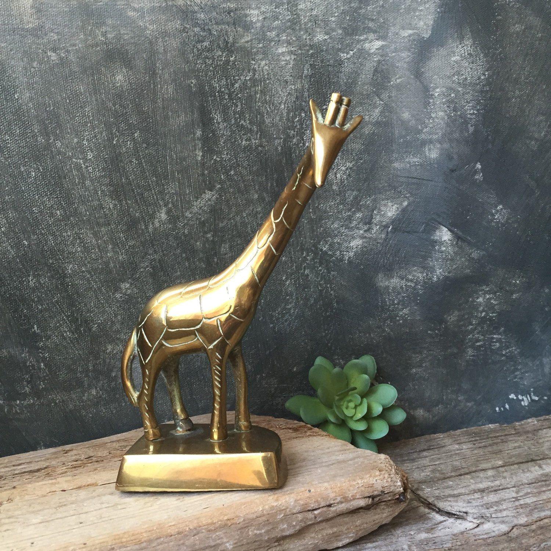 Vintage Solid Brass Giraffe