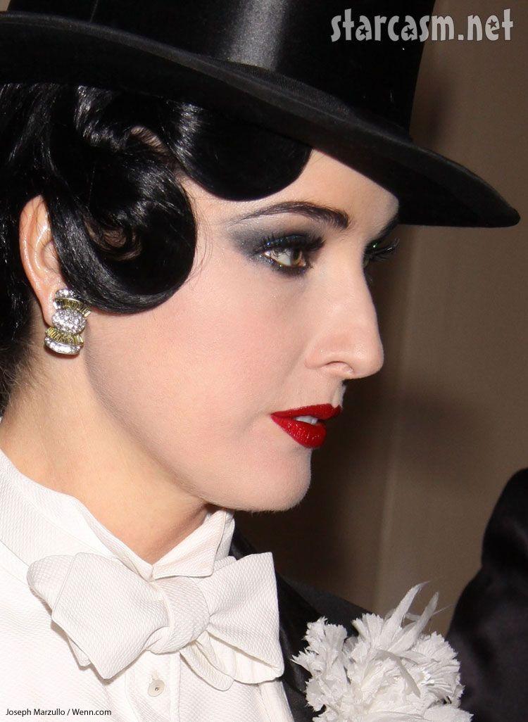 dita von teese face closeup tuxedo drag Bette Midler Halloween party
