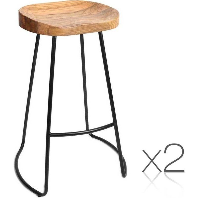 Fine Artiss Set Of 2 Wooden Backless Bar Stools Natural Cjindustries Chair Design For Home Cjindustriesco