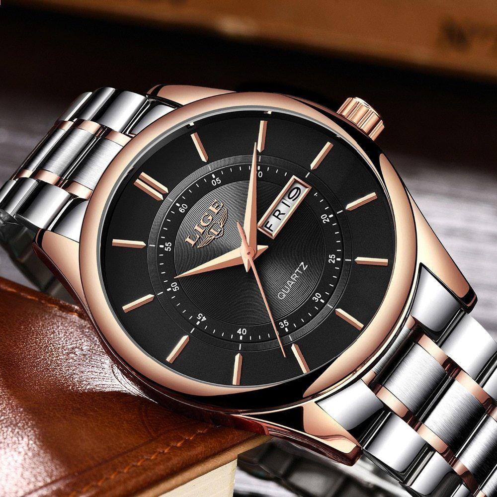 c19a4a9ff11 Pánské hodinky značky LIGE Pánské jednoduché módní sporty Quartz hodinky  Steel Rose Gold Business Vodotěsné hodiny mužů relogios masculinos