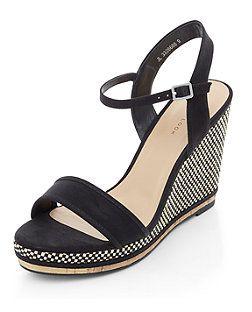 Black Raffia Wedge Sandals   New Look