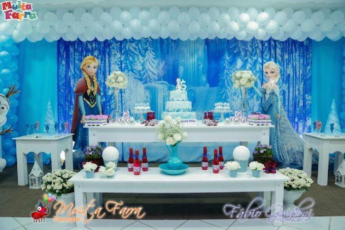 Decoracion con globos frozen frozen fiestas y mesas - Decoracion party ...