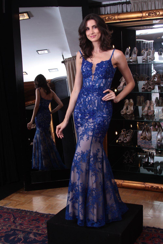 d46555199 Vestido Azul Royal #6958 | Loja Arthur Caliman Vestidos longo de festa em  renda tomara
