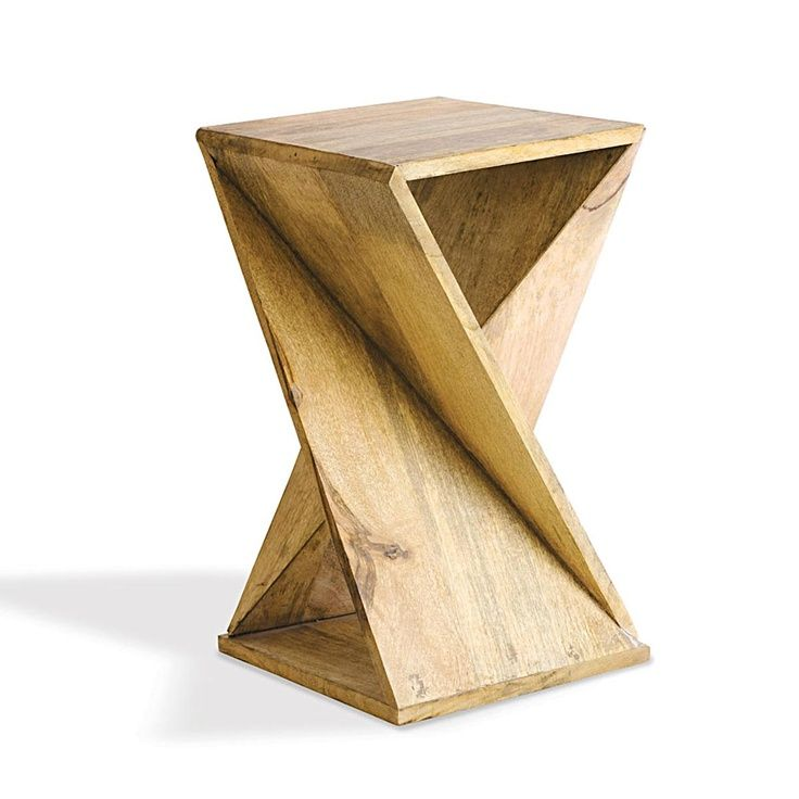 Origami Geometric Solid Wood End Table   Shades Of Light