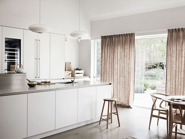 Minimalist Scandinavian Kitchen Open Plan Living Space Big Windows With Curtains Open Space Living Room Home Kitchen Design Open