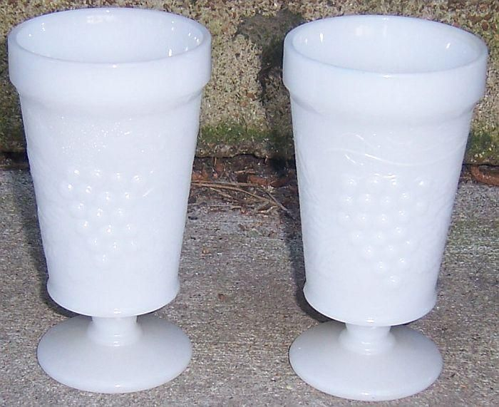 Pair of Harvest Grape White Milk Glass Footed Water/Ice Tea Goblets