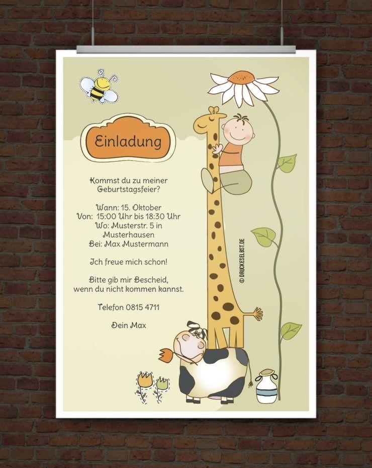 Elegant Druckeselbst! Kostenlose Einladung Kindergeburtstag