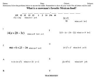 Solving Algebraic Expressions Riddle Practice Solving Algebraic Expressions Algebraic Expressions Rational Expressions