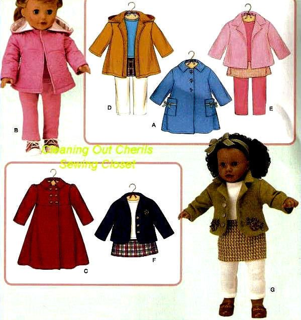 """Simplicity 3551 Doll Clothes Fits American Girl 18"""" New Uncut Sewing Pattern  #Simplicity"""