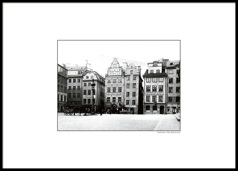 Tavla med svartvitt foto stockholm i svart ram