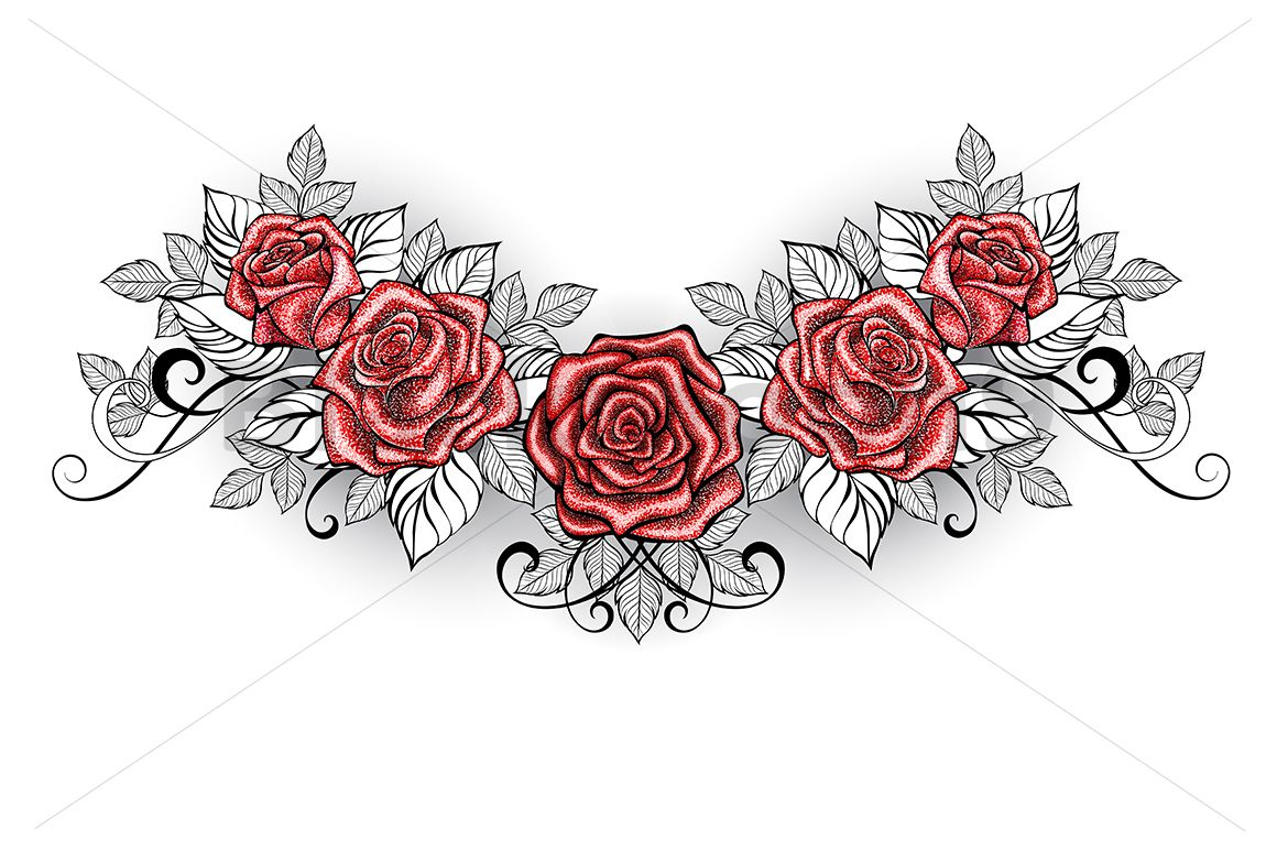 Dotwork Red Roses Tattoo 86903 Illustrations Design Bundles Lower Back Tattoo Designs Red Rose Tattoo Back Tattoos