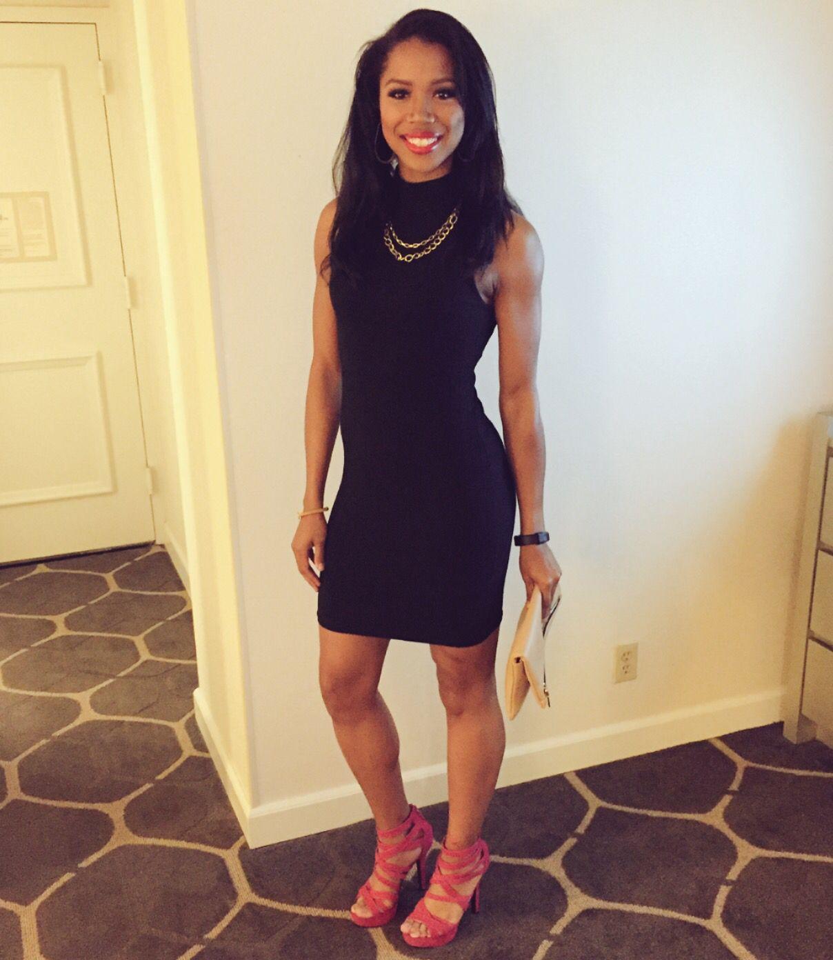 50916d1bde19 Black Dress Hot Pink Heels - Heels Zone