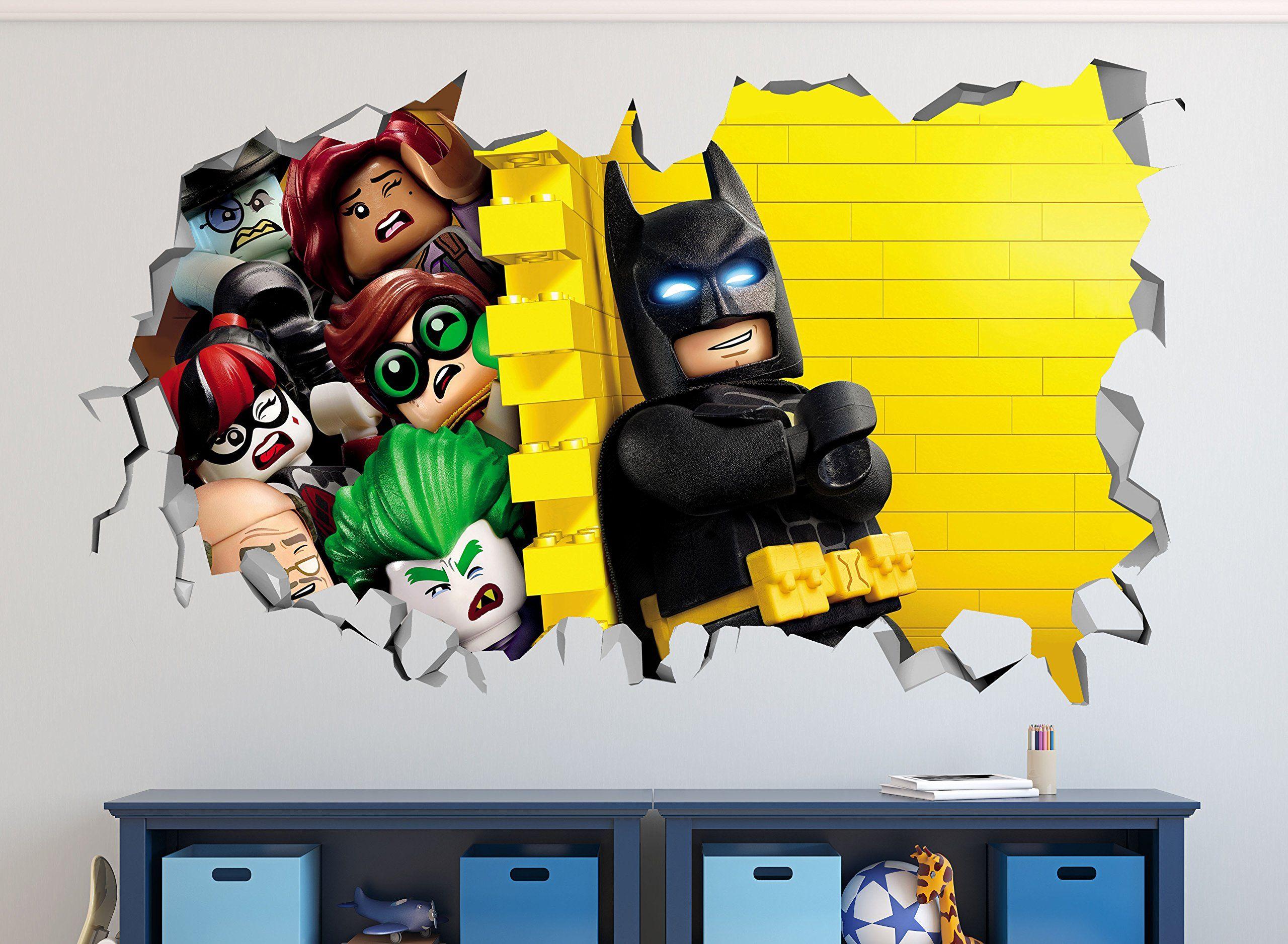 Lego Batman Smashed 3d Wall Decal Mural Art Kids Smash Home Decor