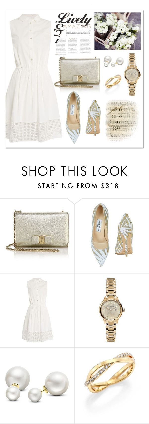 """""""Printed Pumps"""" by frechelibelle ❤ liked on Polyvore featuring Salvatore Ferragamo, Jimmy Choo, Armani Jeans, Sephora Collection, Burberry, Allurez, De Beers, jimmychoo, armani and SalvatoreFerragamo"""