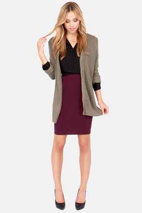 Sketched Out Burgundy Pencil Skirt | Skirts, Gray cardigan and ...