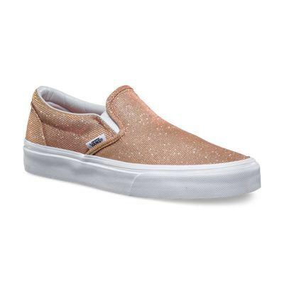 bceec879fa40 Vans-Glitter Textile Slip Ons Rose Gold