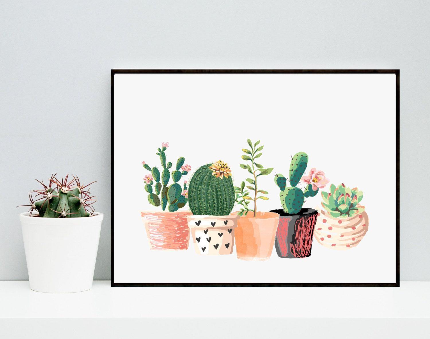 Cactus Print Printable Art Cactus Art Home Decor Potted Cactus Watercolor Succulents Wall Decor
