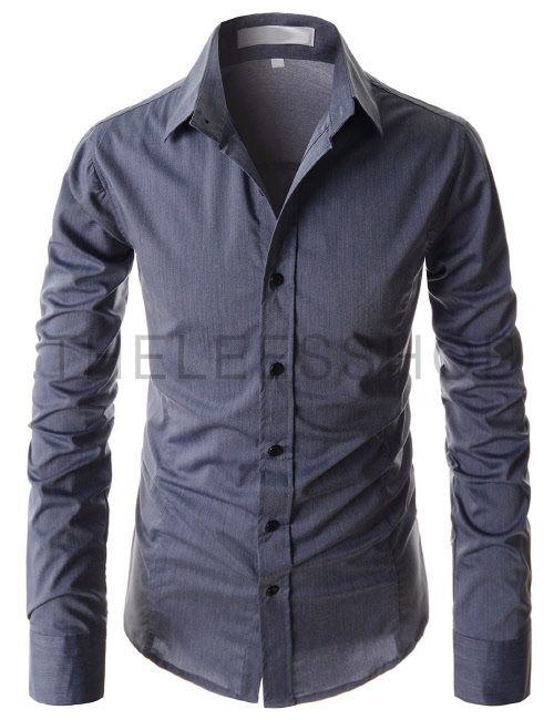 (AL119-DARKBLUE) Mens Slim Fit Silky Princess Line Stretchy Basic Long  Sleeve Shirts 44eddc05391