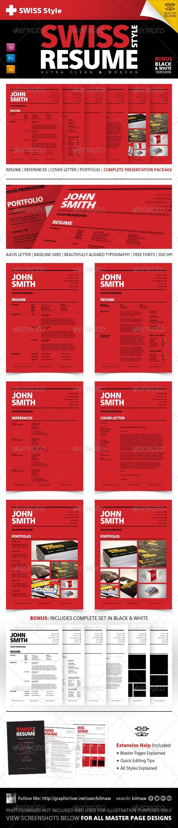 swiss style clean modern resume  cv