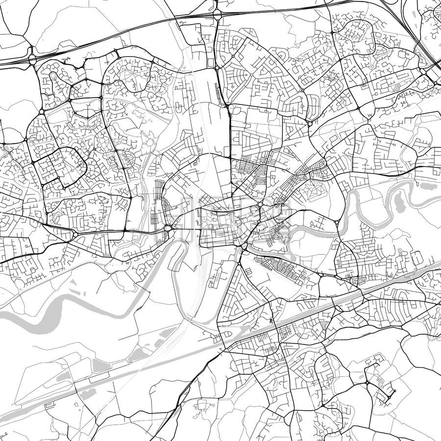 Warrington downtown and surroundings Map in light shaded version ...