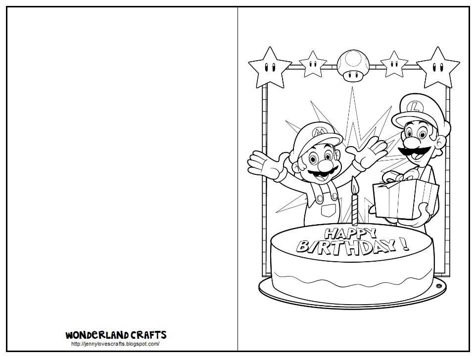 Wonderland Crafts Nintendo Birthday Cards To Print Birthday Card Template Free Birthday Card Template