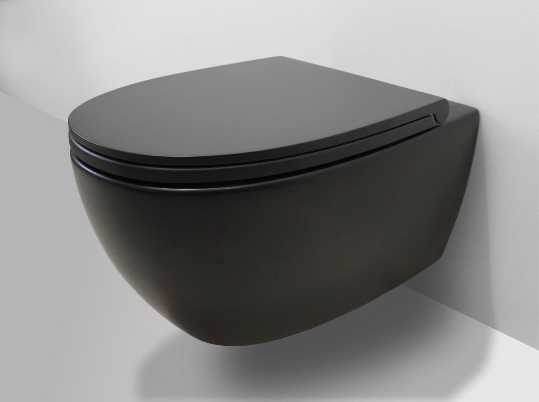 Globo all hangtoilet rimless mat zwart met softclose zitting