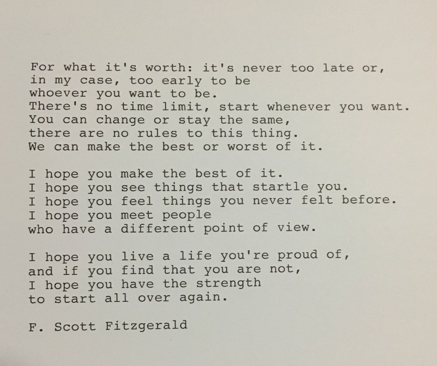 F Stock Quote Fscott Fitzgerald Quote Hand Typed Typewriter Quote  Quotes .