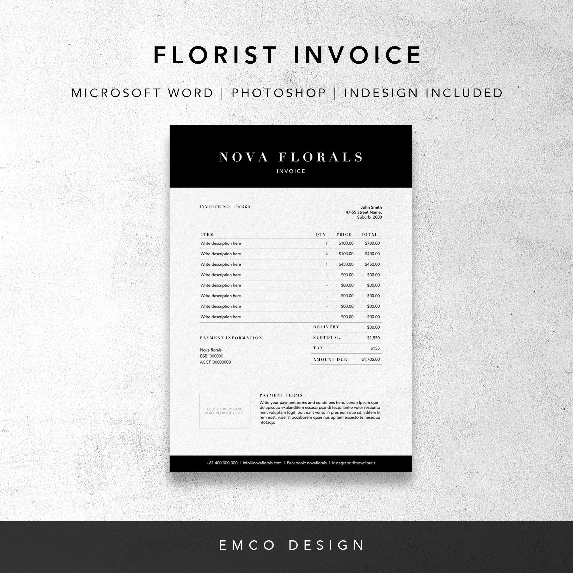 Florist Invoice Template Invoice Design Receipt Ms Word Etsy Invoice Design Invoice Template Printable Invoice