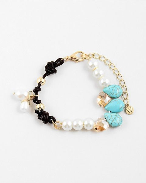 """Petite and oh! so chic! Rock this bracelet every day...from casual to formal. SIZE & FIT 0.5"""" DETAILS STONE   ROCK   PEARL   CLEAR   ROPE   TEAR"""