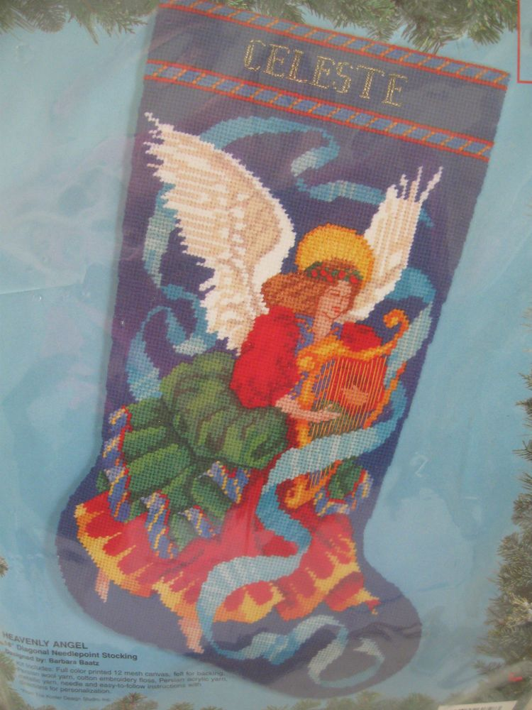 Bucilla Needlepoint Stocking Kit Heavenly Angel Harp