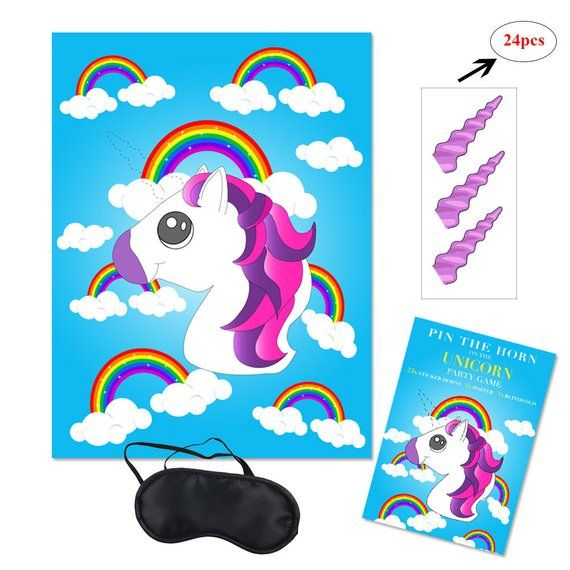Pin The Horn On The Unicorn Party Game Spiele