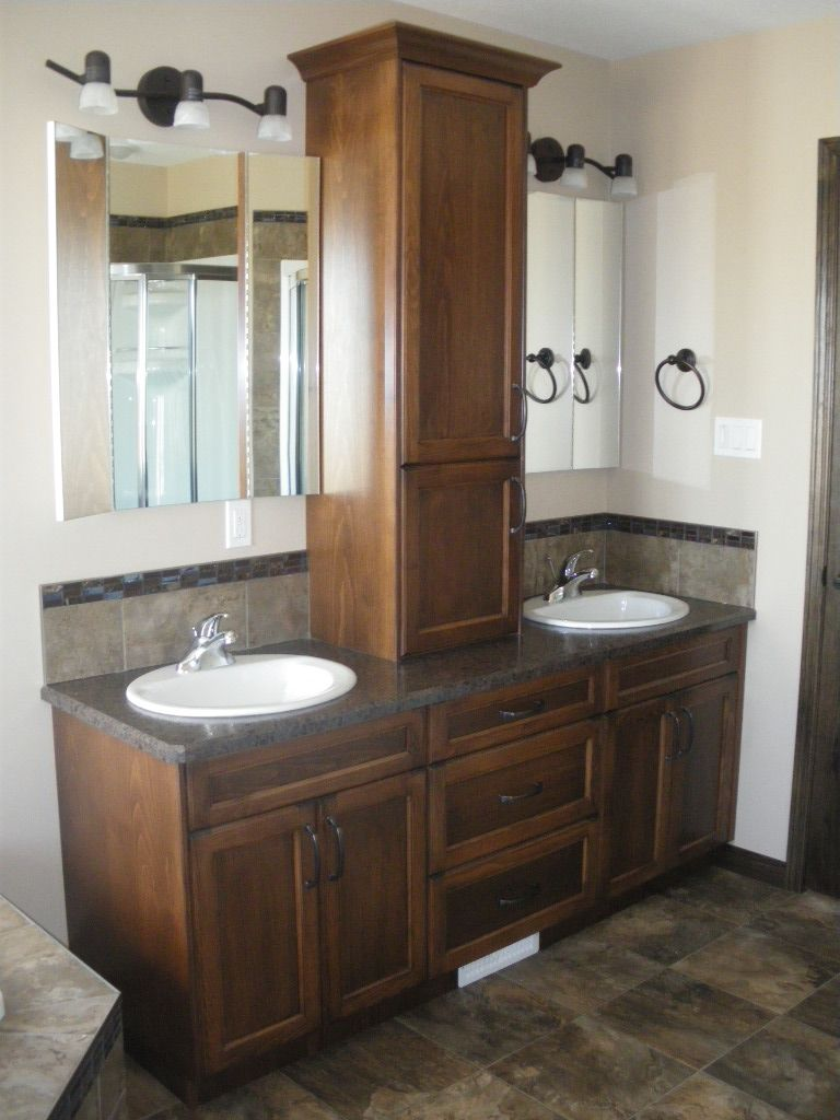 Double sink vanity with storage tower bathroom vanity